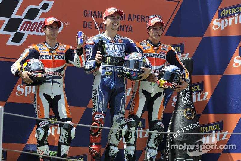 Le podium : Jorge Lorenzo, Dani Pedrosa, Marc Márquez