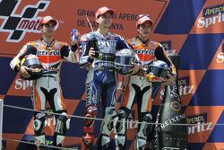 Race winner Jorge Lorenzo, Yamaha Factory Racing, second place Dani Pedrosa, Repsol Honda Team, thir