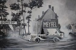 Mural en Virage de Pontlieue donde la vieja pista estuvo en 1923. Intersección de Chemin de Laigné,
