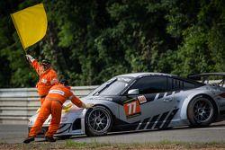#77 Dempsey Racing - Proton Porsche 911 GT3-RSR: Patrick Dempsey, Joe Foster, Patrick Long after a spin