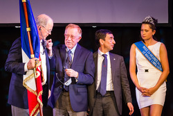 Jim France, Don Panoz, Presidente de ACO Francois Fillon y la Señorita Le Mans 2013