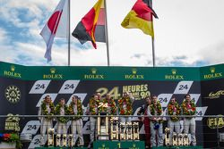 LMP1 podium: class and overall winners Tom Kristensen, Allan McNish, Loic Duval, second place Anthon