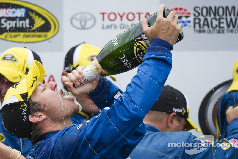 Race winner Martin Truex Jr., Michael Waltrip Racing Toyota celebrates