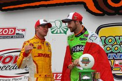 Race winner James Hinchcliffe with second place Ryan Hunter-Reay