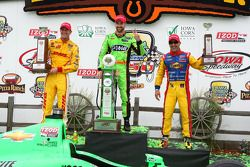 Race winner James Hinchcliffe, second place Ryan Hunter-Reay, third place Tony Kanaan