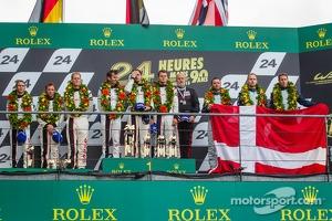 LMGTE Pro podium: class winners Marc Lieb, Richard Lietz, Romain Dumas, second place Jörg Bergmeister, Patrick Pilet, Timo Bernhard, third place Darren Turner, Stefan Mücke, Peter Dumbreck