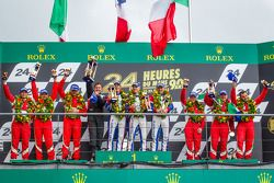 LMGTE Am podium: class winners Raymond Narac, Jean-Karl Vernay, Christophe Bourret, second place Pie