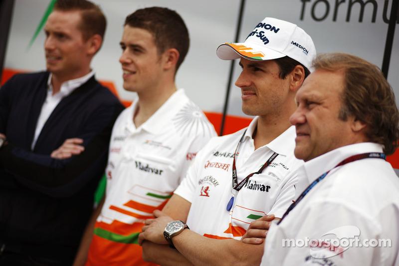 Jordy Cobelens, CEO TW Steel; Paul di Resta, Sahara Force India F1; Adrian Sutil, Sahara Force India F1 and Robert Fernley, Sahara Force India F1 Team Deputy Team Principal.