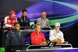 FIA basın toplantısı, Ferrari; Mark Webber, Red Bull Racing; Jenson Button, McLaren; Lewis Hamilton,