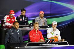 Fernando Alonso, Ferrari; Mark Webber, Red Bull Racing; Jenson Button, McLaren; Lewis Hamilton, Merc