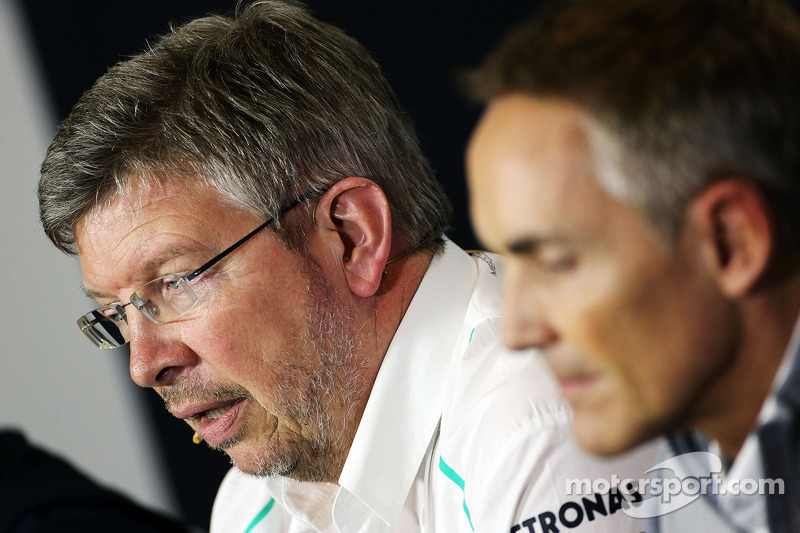 Ross Brawn, Mercedes AMG F1 Team Principal and Martin Whitmarsh, McLaren Chief Executive Officer in the FIA Press Conference