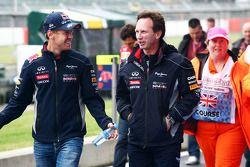 Sebastian Vettel, Red Bull Racing with Christian Horner, Red Bull Racing Team Principal