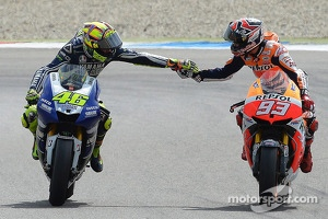 Race winner Valentino Rossi, Yamaha Factory Racing and second place Marc Marquez, Repsol Honda Team