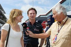 Geri Halliwell, Singer with Christian Horner, Red Bull Racing Team Principal and Bob Constanduros, Journalist and Circuit Commentator
