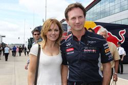 Geri Halliwell, cantante, con Christian Horner, Red Bull Racing Team