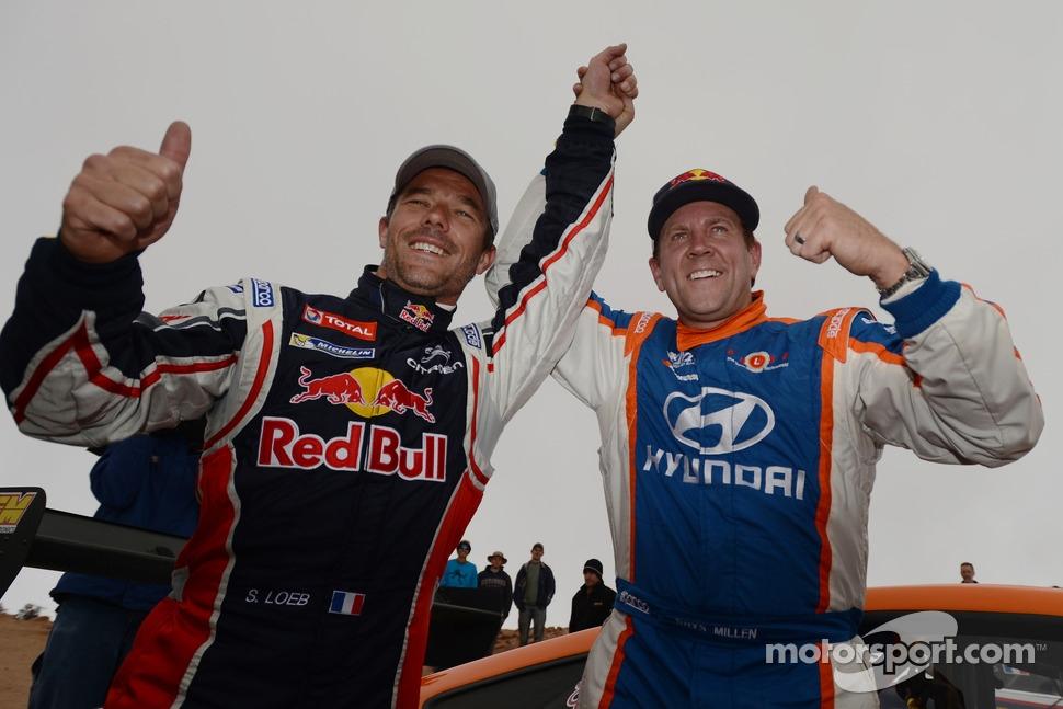 Winner Sébastien Loeb with second place Rhys Millen