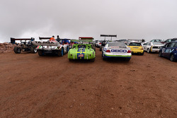 Cars parked on the summit