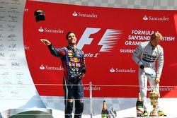 Mark Webber Red Bull Racing celebrates on the podium