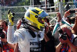 Race winner Nico Rosberg Mercedes AMG F1 celebrates in parc ferme