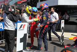 Nico Rosberg (Mercedes AMG F1), Fernando Alonso (Ferrari) et Mark Webber (Red Bull Racing)