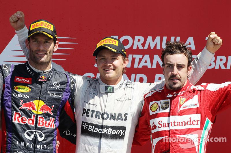 2013 - 1. Nico Rosberg, 2. Mark Webber, 3. Fernando Alonso