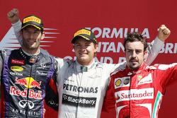 Mark Webber Red Bull Racing ; Nico Rosberg Mercedes AMG F1 ; Fernando Alonso Ferrari
