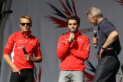 Max Chilton Marussia F1 Team, Jules Bianchi Marussia F1 Team and Tony Jardine at the post race conce