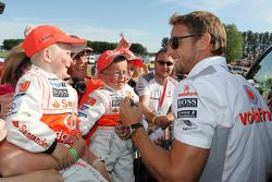 Jenson Button McLaren with young fans