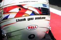 The helmet of Romain Grosjean Lotus F1 Team on the grid