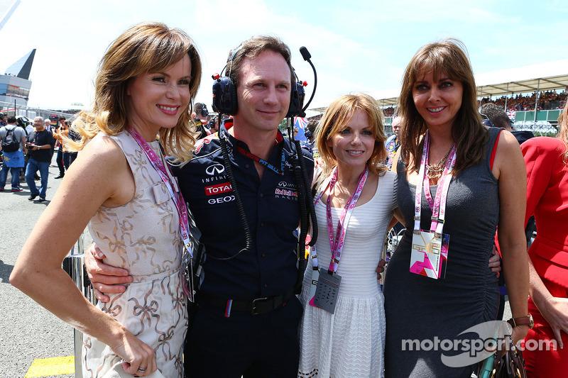 Christian Horner, Chefe de equipe da Red Bull Racing, com Amanda Holden, Geri Halliwell e Carol Vordermann, no grid