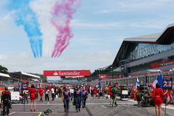Red Arrows Air Display passes over the grid