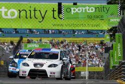 Nikolay Karamyshev, Seat Leon WTCC, Campos Racing en Alex MacDowall, Chevrolet Cruze 1.6T, bamboo-en