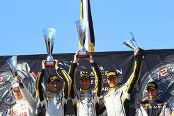Podium: Bas Leinders, Yelmer Buurman, Maxime Martin, BMW Z4