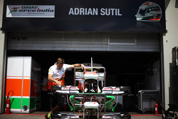 Sahara Force India F1 VJM06 nosecones outside the garage of Adrian Sutil, Sahara Force India F1