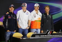 German drivers in the FIA Press Conference: Sebastian Vettel, Red Bull Racing; Nico Hulkenberg, Saub