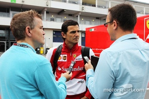 Pedro de la Rosa, Ferrari Development Driver and GPDA Chairman with Ian Parkes, Press Association Journalist, and Jonathan Noble, Autosport Journalist