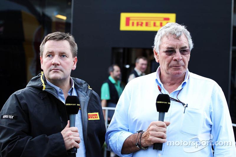 (L naar R): Paul Hembery, Pirelli Motorsport Director met Gary Anderson, BBC Sport-analist