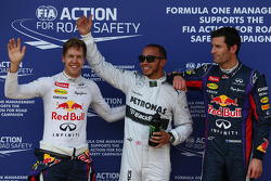 Pole for Lewis Hamilton, Mercedes AMG F1, 2nd for Sebastian Vettel, Red Bull Racing and 3rd for Mark