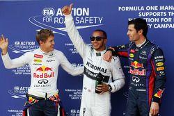 Sebastian Vettel, Red Bull Racing; Lewis Hamilton, Mercedes AMG F1; Mark Webber, Red Bull Racing