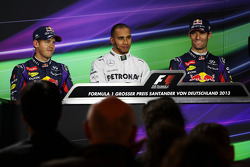 The top three qualifiers in the FIA Press Conference: Sebastian Vettel, Red Bull Racing, second; Lew