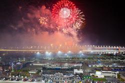 Fireworks during victory lane celebrations