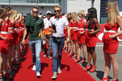 (L to R): Giedo van der Garde, Caterham F1 Team and Max Chilton, Marussia F1 Team on the drivers par