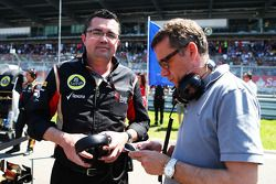 (L to R): Eric Boullier, Lotus F1 Team Principal with Eric Lux, Genii Capital CEO on the grid