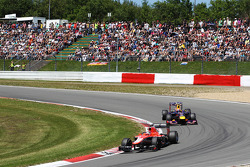 Jules Bianchi, Marussia F1 Team MR02 leads Mark Webber, Red Bull Racing RB9