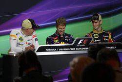 Kimi Räikkönen, Lotus F1 Team ; Sebastian Vettel, Red Bull Racing ; Romain Grosjean, Lotus F1 Team