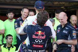 Race winner Sebastian Vettel, Red Bull Racing celebrates with Christian Horner, Red Bull Racing Team