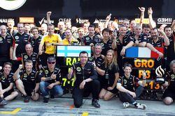 Eric Boullier, Lotus F1 Team Principal celebrates with second placed Kimi Raikkonen, Lotus F1 Team,
