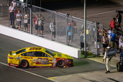 Joey Logano, Penske Racing Ford heads to the garage after hitting the wall
