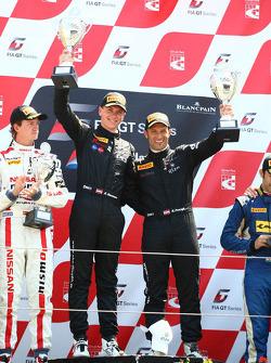 AM podium: winners Hari Proczyk, Dominik Baumann, Lamborghini LP600+, Grasser Racing