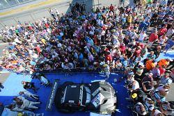 Second place overall Abdulaziz Al Faisal, Max Sandritter, Dominik Baumann, Pixum Team Schubert, BMW Z4 GT3, Parc Ferme